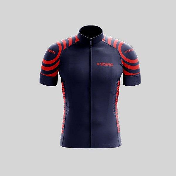 Camisa Ciclismo SOLIFES Azul c/ Vermelha -Tam. G
