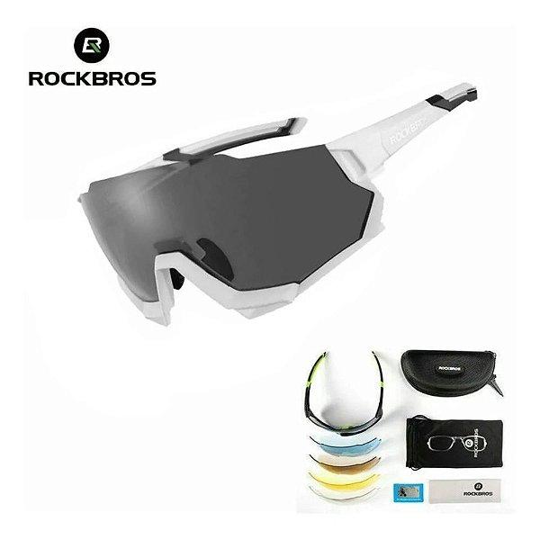 Óculos de Ciclismo ROCKBROS Unissex Branco (+4 Lentes)