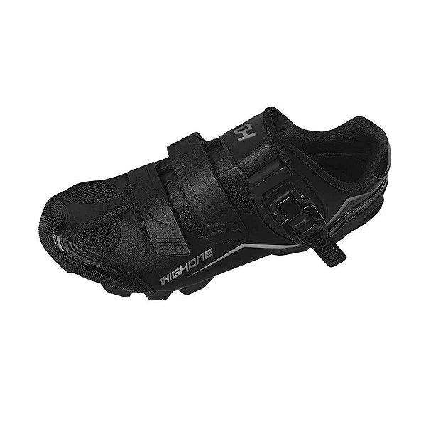 Sapatilha MTB HIGH ONE Feet Eur 2 Velcros 1 Trava Preto/Cinza - Tam. 43