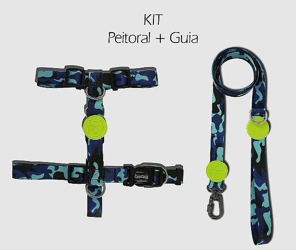 KIT Peitoral e Guia - Blue Army - CoolDog