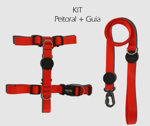 KIT Peitoral e Guia - Rosso - CoolDog