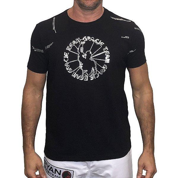 Camiseta Gracie Cyber preta com prata