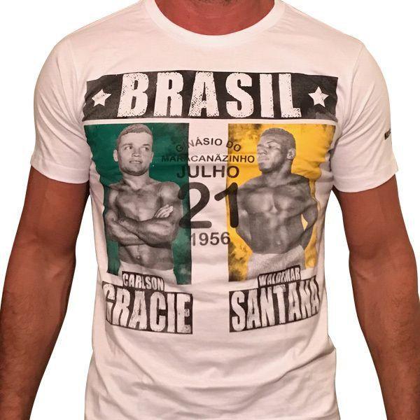 Camiseta Book - Carlson Gracie Vs Waldemar Santana-1956 (Branca)