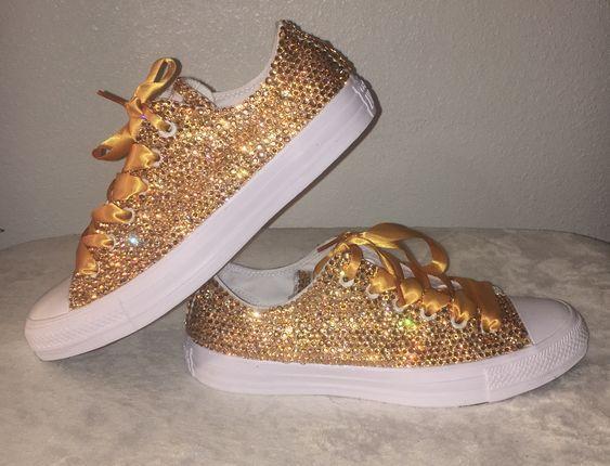 Tênis Converse All Star Customizado com Cristais Dourados