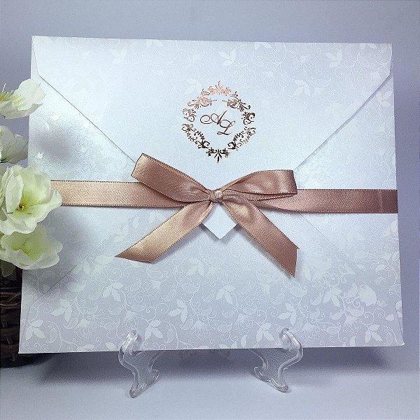 Convite floral perolado para festa (40 unidades)