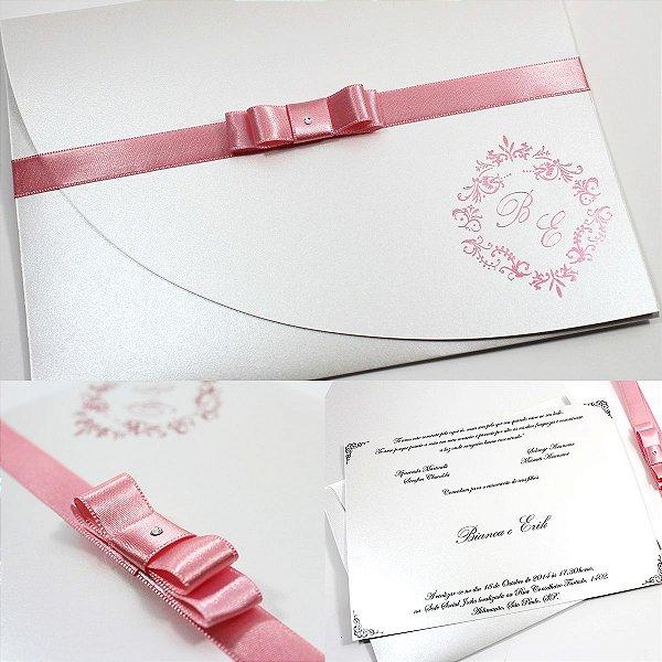 Convite com brasão rosado para festa (40 unidades)