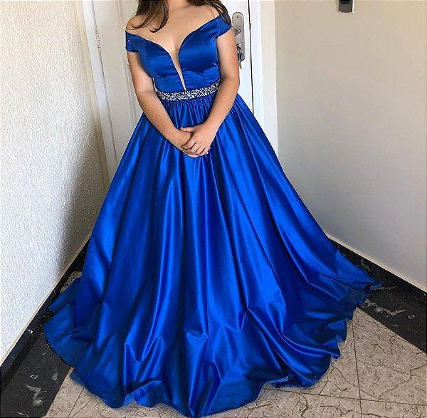 Vestido de festa longo em cetim azul royal