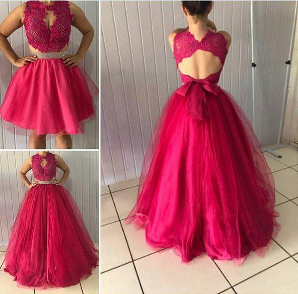 Vestido de festa longo dois em um rosa escuro