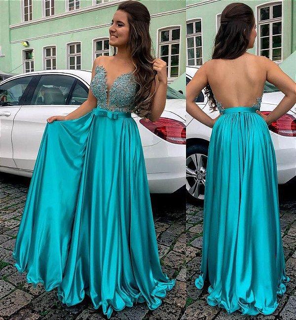 Vestido de festa longo azul turquesa com pedraria