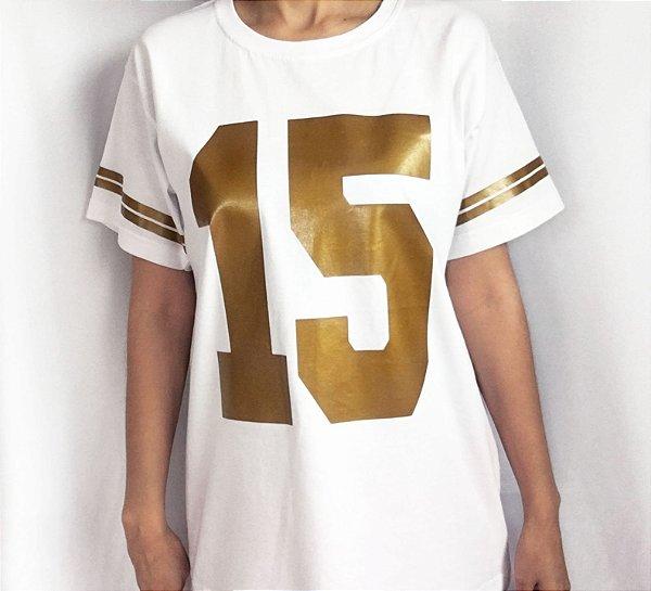 Camiseta 15 com listras nas mangas - Abertura de pista - Branca e dourada