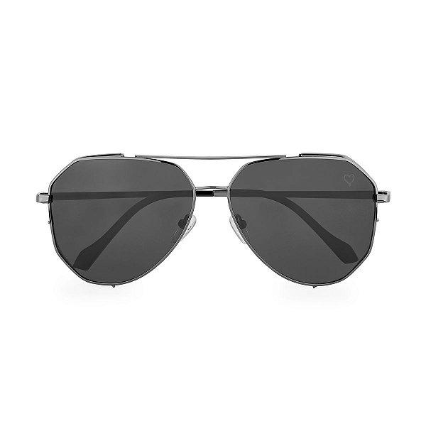 Óculos de Sol Kessy Aviador Salvador Preto Prata