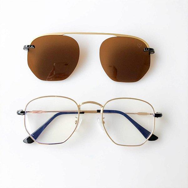 Óculos de Grau Kessy Clip On Hexagonal Dourado Lente Marrom