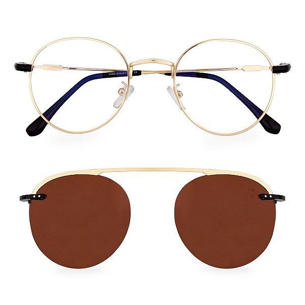 Óculos de Grau Kessy Clip On Round 250 Dourado Lente Marrom