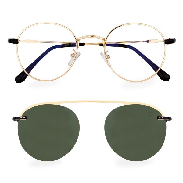 Óculos de Grau Kessy Clip On Round 250 Dourado Lente Verde