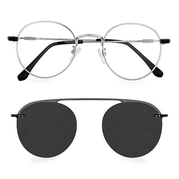Óculos de Grau Kessy Clip On Round 250 Prata
