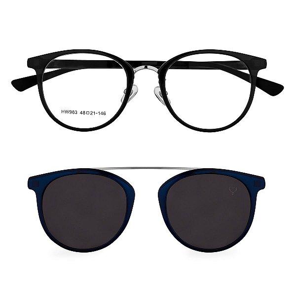 Óculos de Grau Kessy Clip On 255 Azul