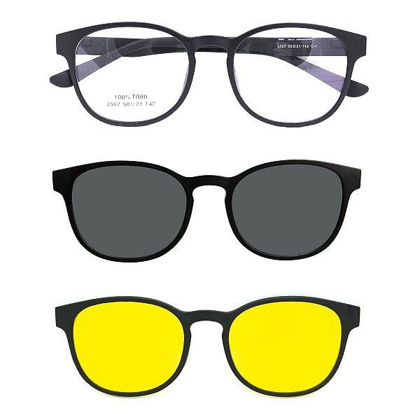 Óculos de Grau Kessy Clip On 375 Preto Fosco