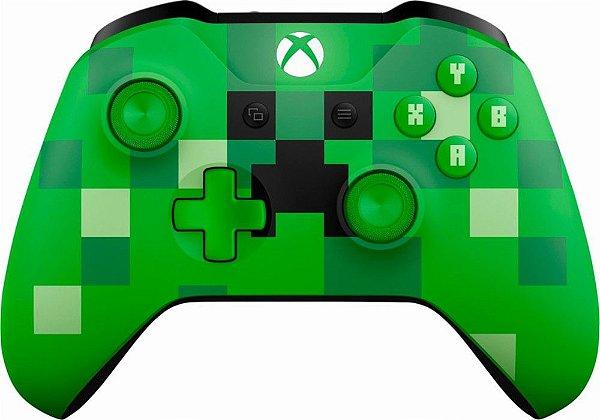 Controle Xbox One S Wireless Bluetooth Minecraft Creeper - Microsoft