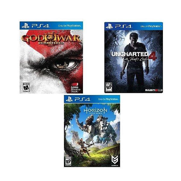 Jogo Bundle: Horizon Zero Dawn + Uncharted 4 + God of War 3 - PS4 - Mídia Física no encarte