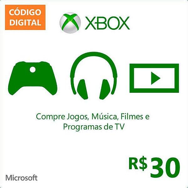 Cartão Xbox Live Microsoft Presente PRÉ PAGO R$ 30,00