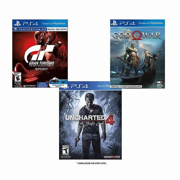 Jogos God Of War, Gran Turismo Sport e Uncharted 4 - PS4
