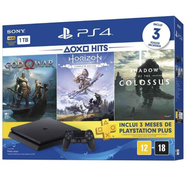 Console Playstation 4 Slim 1TB Bundle God Of War, Horizon Zero Dawn e Shadow Of The Colossus