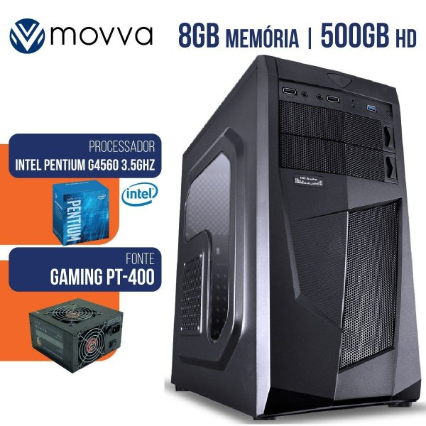 Computador Gamer Intel Pentium G4560 3.5Ghz 7ª Geracao Mem 8Gb DDR4 HD 500GB Hdmi/Vga Fonte 400W Linux - Movva