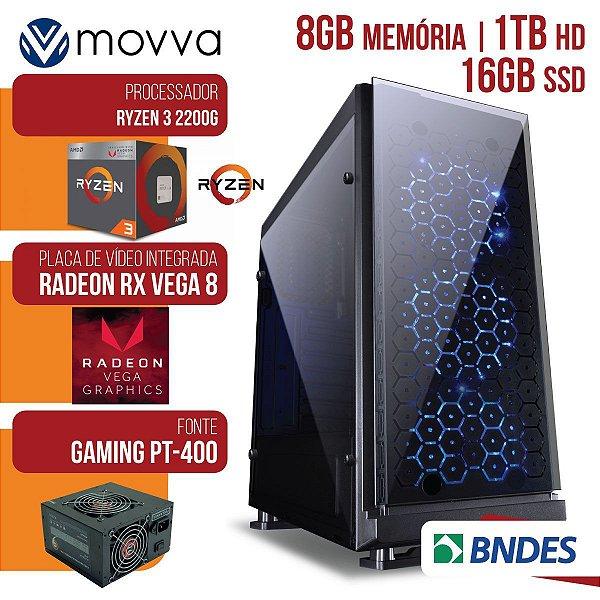 Computador Gamer AMD Ryzen 3 2200G 3.5Ghz Mem. 8GB HD 1TB SSD 16GB Hdmi/Vga/Dvi-D Fonte 400W Linux  - Movva