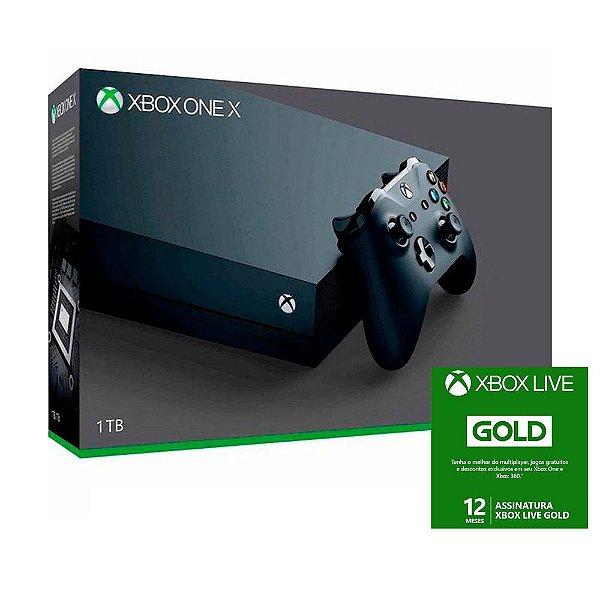 Console Microsoft Xbox One X 1TB 4K com Live Gold 12 meses
