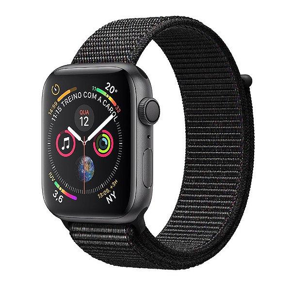Apple Watch S4, GPS, 40 mm, Alumínio Cinza Espacial com Pulseira Loop Esportiva Preta
