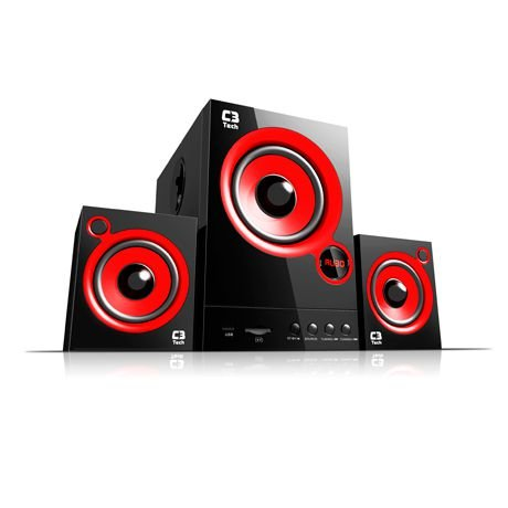 Caixa de Som SPEAKER 2.1 SP-105UM BK USB/SD/FM BIV C3Tech
