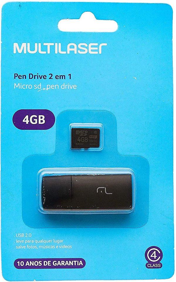 Micro SD 4GB com Adaptador Pen Drive 2 EM 1 mc160 Multilaser