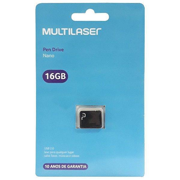 Pen Drive Multilaser Nano 16GB Usb 2.0 Preto PD054