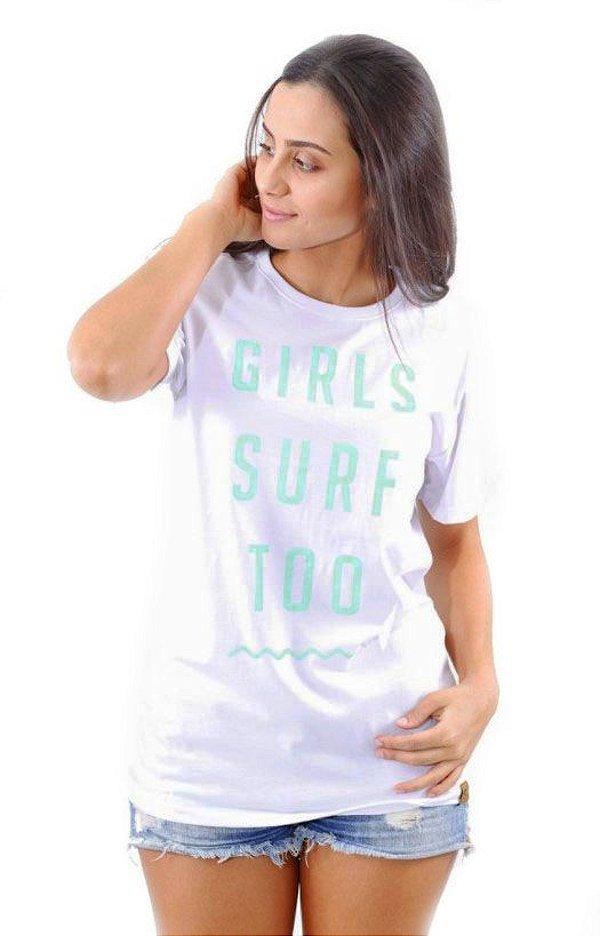 Camiseta Hawewe Surf Branca Girls Surf Too Azul