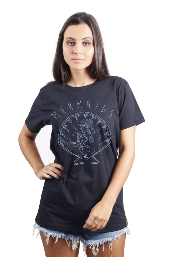 Camiseta Hawewe Surf Sereia Preta Azul
