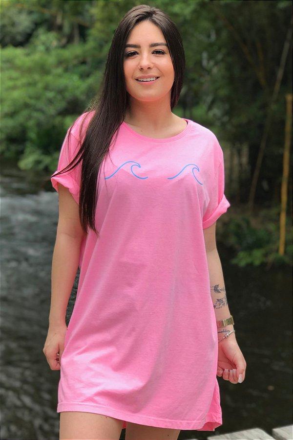 Vestido Hawewe Estonado Ondas Rosa