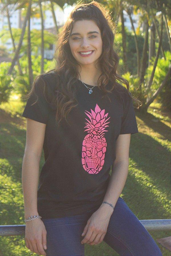 Camiseta Pineapple Tiki Rosa Neon Preta