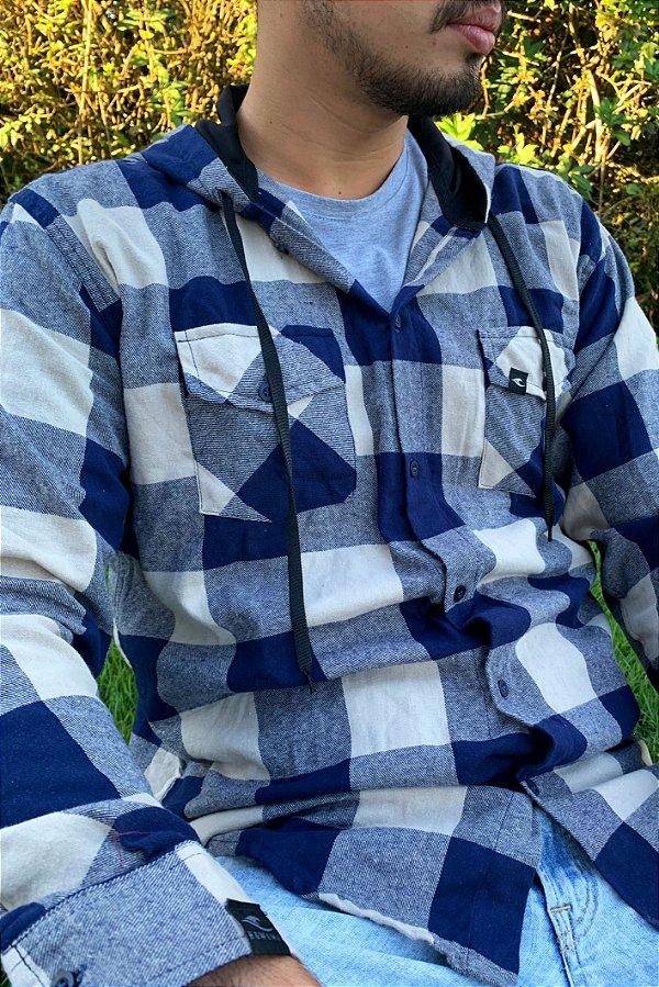 Camisa Hawewe Flanela Xadrez Azul