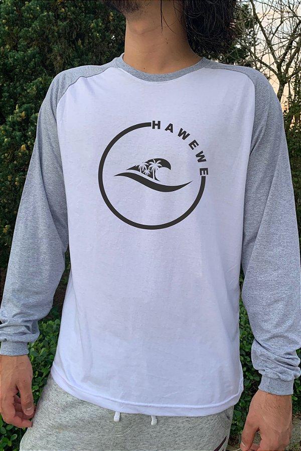 Camiseta Raglan Manga Longa Hawewe Mescla Logo coqueiros