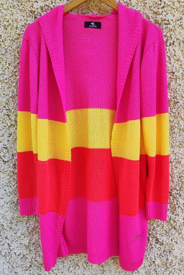 Kimono de Tricot Hawewe Listrado Colorido