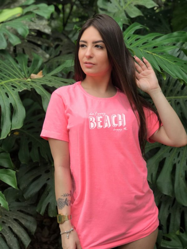 Camiseta Hawewe Don't Worry Beach Happy Rosa estonada
