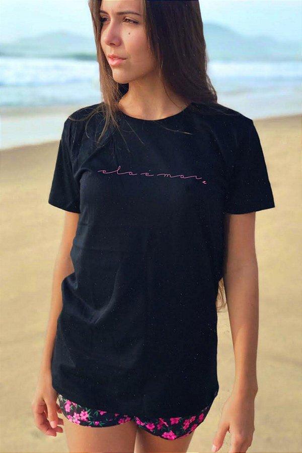 Camiseta Hawewe Ela é Mar Preta