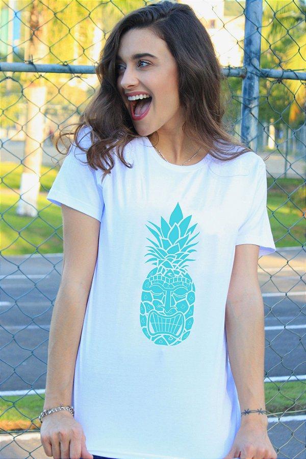 Camiseta Hawewe Pineapple Tiki Branca