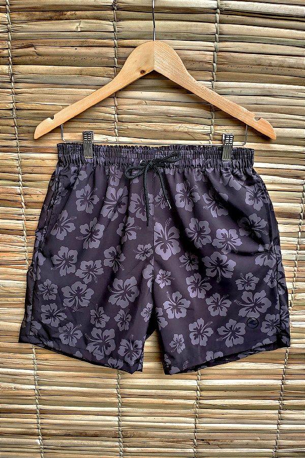 Shorts Masculino Hawewe Hibisco Preto