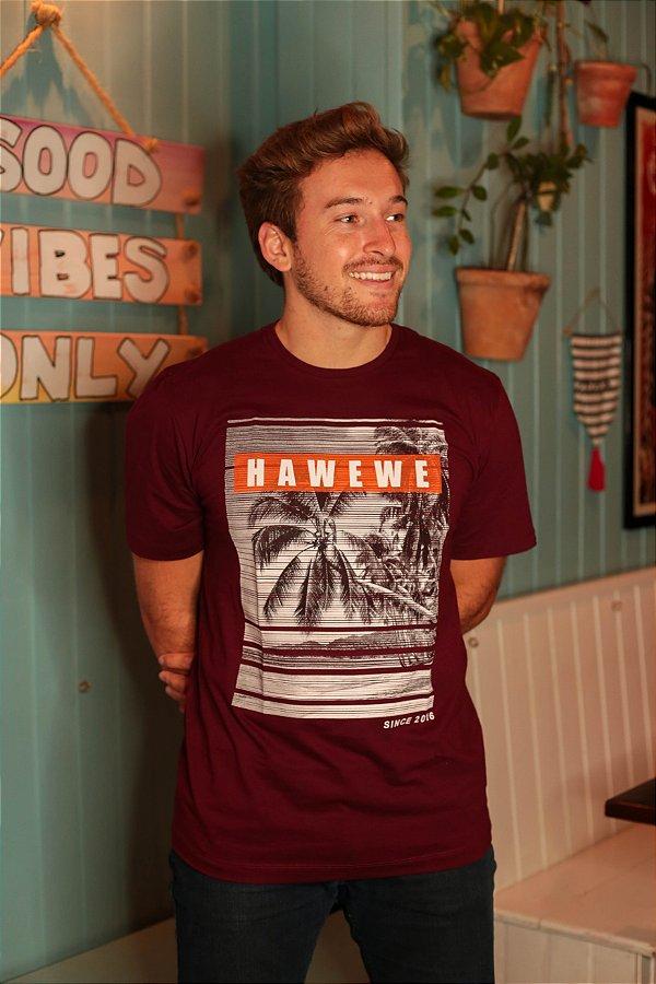 Camiseta Hawewe Paradise Beach Bordô