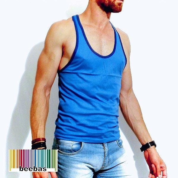 a9ed718a7 camiseta masculina básica azul - Beebas - Moda LGBT