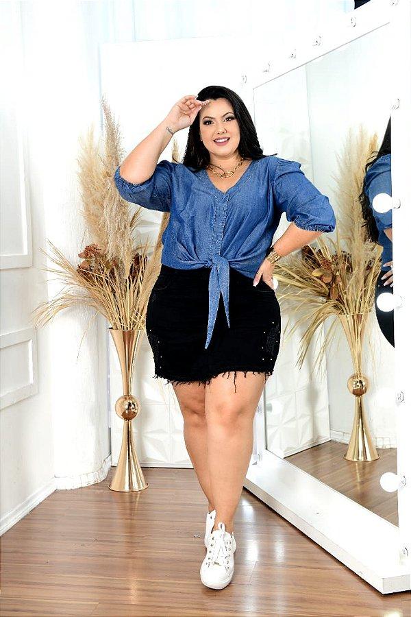 Short saia black plus size