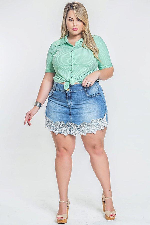Short saia jeans com elastano plus size