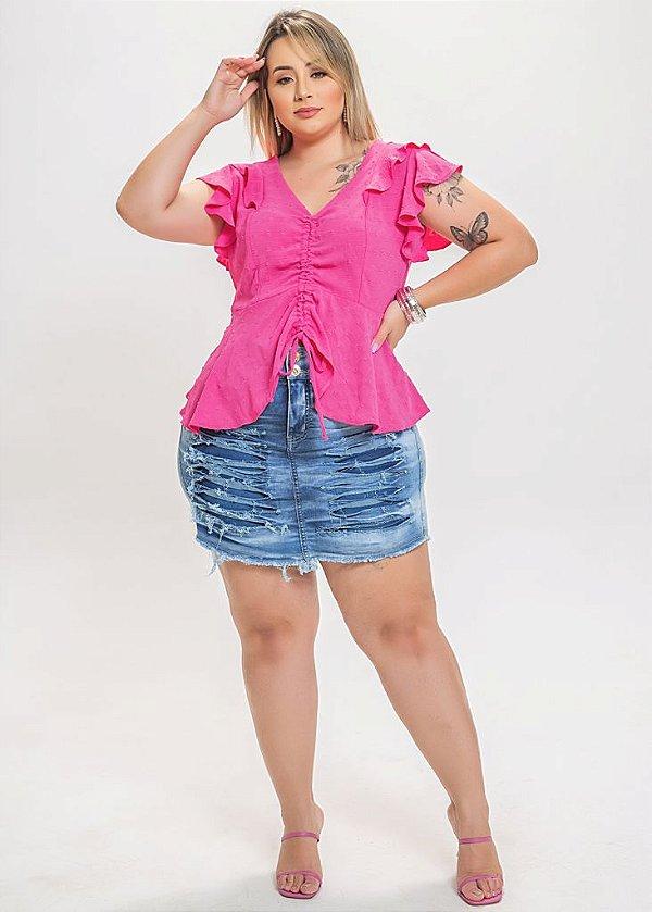 Short saia jeans destroeyd plus size