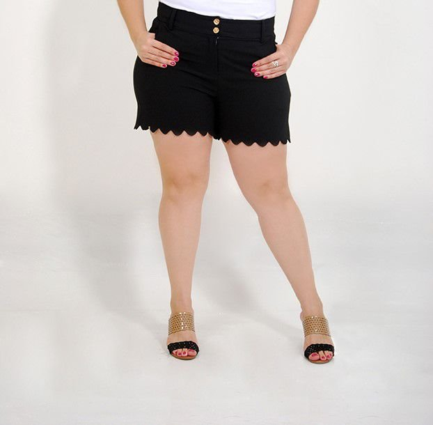 20c68ceb6b Short Oxford com Elastano Barra Nuvem Preto - Camilly Plus Size